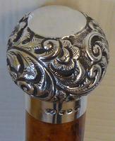 Victorian Gadget Walking Stick 1896 Silver Pommel Bamboo Shaft Hidden Bottle (3 of 12)