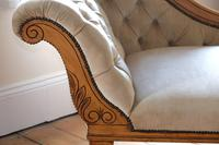 Edwardian Mahogany Framed Chaise Longue with Button Back Upholstery (6 of 12)