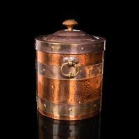 Antique Fireside Bin, English, Copper, Brass, Decorative, Scuttle, Edwardian (5 of 12)