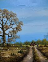 Original 1960s Vintage Antique Country Equestrian Farming Landscape Oil Painting (7 of 11)