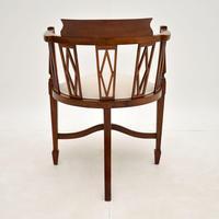 Antique Edwardian  Inlaid Mahogany Corner Chair (10 of 11)