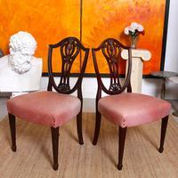 6 Dining Chairs Hepplewhite Mahogany Leather 19th Century (9 of 15)