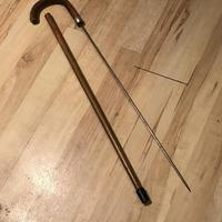 Gentleman's Walking Stick Sword Stick with Silver Collar Hallmarked (5 of 8)