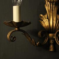 French Set of 4 Gilded Iron Twin Arm Wall Lights (4 of 10)