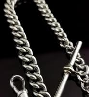Vintage Art Deco Sterling Silver Albert Chain, Watch Chain (4 of 10)