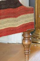 Antique Oak Chair with Multicoloured Afghan Kelim (9 of 9)
