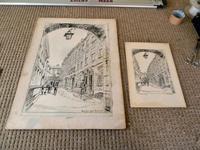 Hanslip Fletcher Original Pen & Ink Drawing & another Lithograph- London Scene 1928 (3 of 9)
