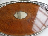 Victorian Oval Silver & Inset Walnut Gallery Tray (5 of 11)