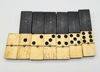 Antique 19th Century Bone & Ebony Double-Six Dominoes W/brass Pins - Complete Set of 28 (4 of 8)