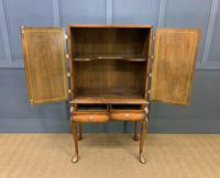 Floral Painted Burr Walnut Cabinet on Stand (7 of 15)