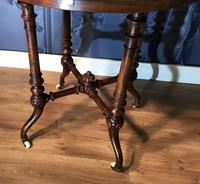Victorian Burr Walnut & Marquetry Occasional Table (6 of 10)