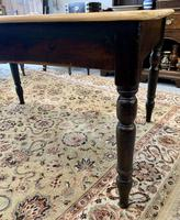 Antique Victorian Pine Farmhouse Table with Drawer (13 of 16)