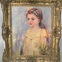 Antique oil painting portrait of young girl in ornate gesso frame signed William Patrick (7 of 8)