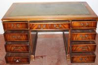 1960's Large Mahogany Pedestal Desk with Green Leather Inset (2 of 3)