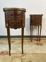 French Marquetry Bedside Tables Oval Cabinets with Marble Tops (3 of 12)