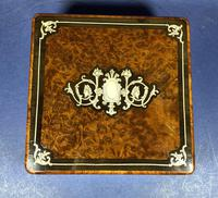 Victorian French Burr Cedar Jewellery Box with Inlay & Original Interior (5 of 13)