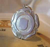 Vintage Pocket Watch Chain Fob 1940s Large Silver Chrome Ornate Shield Fob Nos (2 of 8)