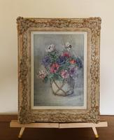 Signed Oil on Canvas Anemones in a Vase (6 of 7)