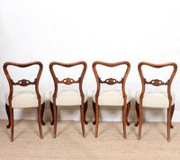 4 Walnut Balloon Dining Chairs 19th Century (3 of 12)