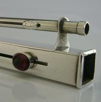 Rare Gem Set Sterling Silver Sealing Wax Wick Holder 1904 Antique Desk Antique (2 of 10)