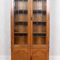 Oak Leaded Glazed Bookcase Arts & Crafts (2 of 10)