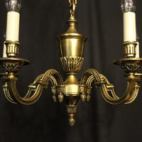 French 5 Light Gilded Brass Antique Chandelier (4 of 10)
