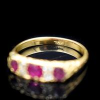 Antique Ruby & Old Cut Diamond 18ct 18K Yellow Gold Scroll Ring (9 of 9)