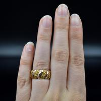 Antique Chunky Fancy Patterned 9ct 9K Gold Stacking Band Ring (2 of 8)