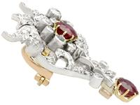 2.05ct Ruby & 1.70ct Diamond & 12ct Yellow Gold Brooch - Antique c.1910 (7 of 9)