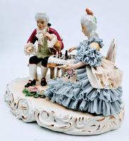 Dresden Germany Figurine Sculpture of Couple Playing Chess