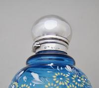 Edwardian Silver Mounted Turquoise Enamelled Glass Scent Bottle by John Grinsell Birmingham 1910 (5 of 6)