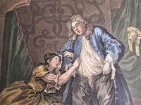 William Hogarth, Pair of Original Prints, Later Hand Colour, Before and After Engraved 1736 (8 of 10)