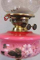 Antique Oil Lamp with Pink Cranberry Shade (9 of 12)
