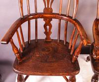 A Near Pair of Childs Yew Wood Windsor chairs (9 of 14)