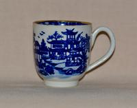 Worcester Porcelain Coffee Cup & Saucer 'Bandstand' Pattern 1780-1790 (4 of 8)