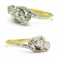Vintage 18ct Platinum diamond trilogy ring c1930s ~ 1950s (10 of 10)