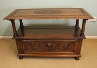 Antique Carved Oak Monks Bench Hall Seat Settle (2 of 11)