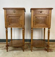 Antique French Bedside Cabinets Marble Tops Walnut Pot Cupboards (2 of 12)