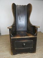 English 19th Century Painted Lambing Chair