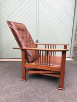 Arts & Crafts Oak & Leather Reclining Armchair (6 of 10)