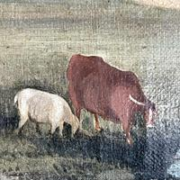Antique Landscape Oil Painting of Farmhouse with Cows & Sheep (7 of 10)