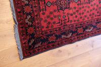 Vintage North West Persian Wool Runner with an all over design upon a red and dark blue ground within multiple borders (8 of 8)