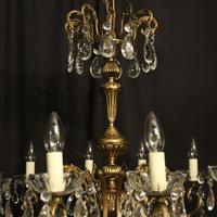 French Gilt & Crystal 12 Light Antique Chandelier Oka04051 (7 of 10)