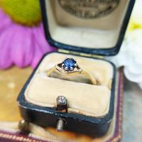 Vintage Dainty 18ct Gold Created Sapphire Evil Eye Ring (4 of 10)