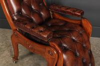 Rare Mahogany & Buttoned Brown Leather Reclining Chair (8 of 15)