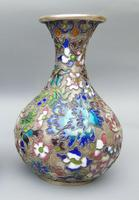 Pretty Pair of Chinese Cloisonne Champleve Vases (6 of 9)