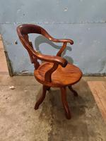 Antique Chinese Cherry Wood Swivel Captains Desk Chair (10 of 10)