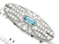 2.79ct Aquamarine & 4.96ct Diamond, 18ct White Gold Brooch - Antique French c.1910 (7 of 9)