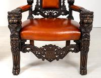 Superb Pair of Oak Throne Chairs (12 of 14)