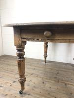 Antique Pine Farmhouse Kitchen Table with Drawer (12 of 13)